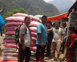 Distributing supplies to local villages